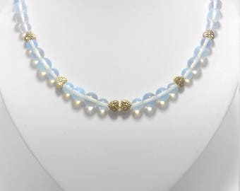 Opalite necklace. Natural Stones. White opal.