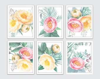 Shabby Chic Peonies Watercolor Set of 6 Prints