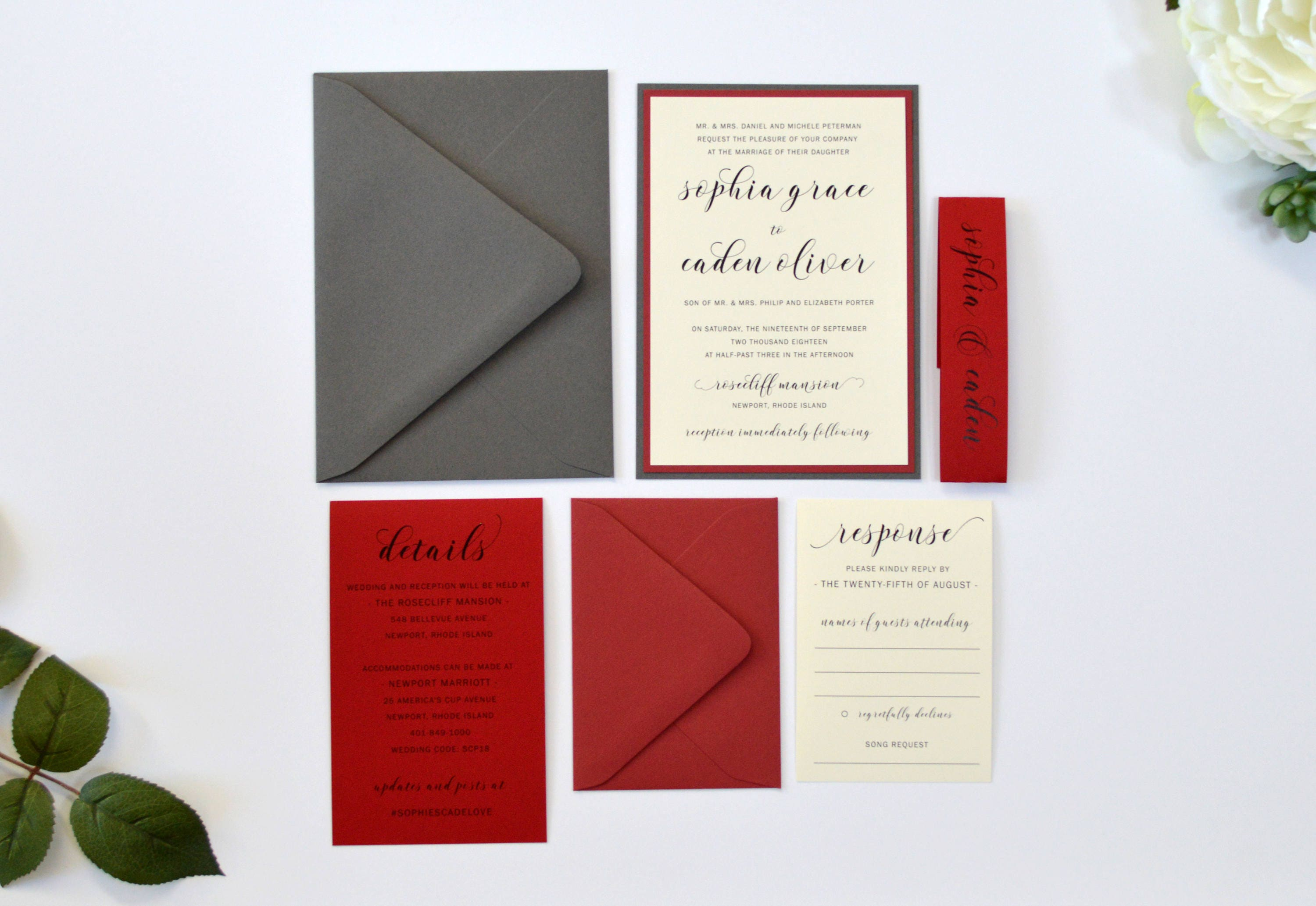 Red Wedding Invitations Grey and Scarlet Red Calligraphy
