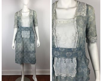 Vintage 1910s Dress / Edwardian Blue Daisy Print Lace Dress / Extra Small to Small