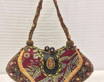 Beaded structured purse, handbag,crystals,bronze,red,gold,pink,top handle,formal purse