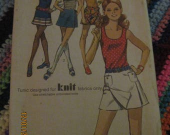 Vintage SIMPLICITY Pattern #9332...sz 14...Miss/Young/Teens scooter skirt & tunic ...70's... #105...