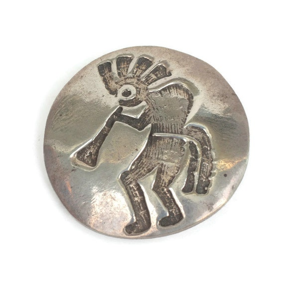 Sterling Kokopelli Pin Hopi Fertility Flute Player Native American Vintage