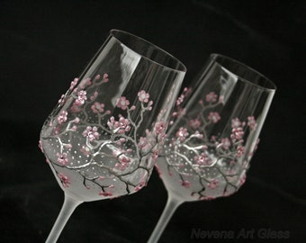 Wine Glasses, Wedding Glasses,  Sakura Glasses, Cherry Blossom,  Hand Painted Set of 2