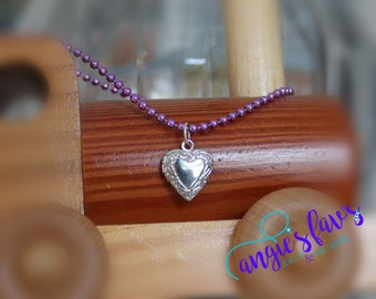 Ball Chain Necklace - Silver Heart Locket