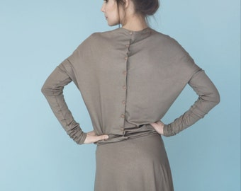 Beige dress | Dress with sleeves | Button back dress | LeMuse dress with sleeves