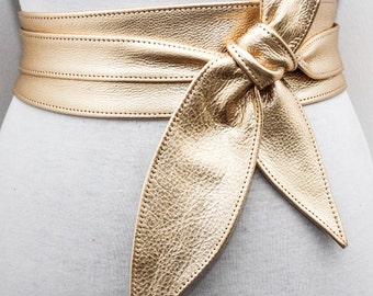 Gold Sash Belt | Gold Wedding Belt | Bridesmaid Sash | Gold Leather Obi Belt | Gold Corset Belt | Leather wrap Belt | plus size Accessory