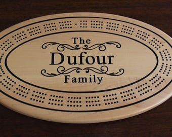 Custom cribbage board personalized with names and or, logo. Made from Solid Maple wood. Gift for him or her with superior craftsmanship