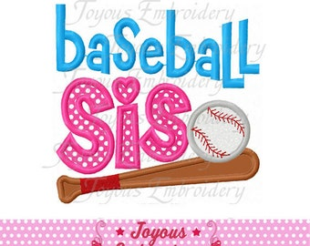 Instant Download Baseball Sister Applique Machine Embroidery Design NO:2452