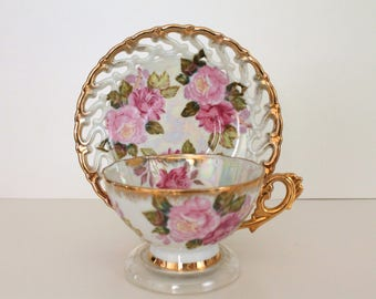 Royal Sealy Rose Gold Opalescent Cup & Saucer 1950s