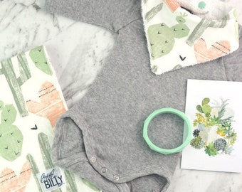 Bib & Burp Cloth Gift Set - Cactus Print