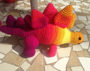 Red Stegosaurus, Yellow Stegosaurus, Stuffed Dinosaur, Red Stuffed Animal, Dinosaur Lovey, Prehistoric Toy, Crochet Dinosaur, Stegosaurus
