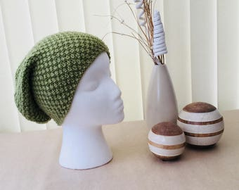 Handknit Dusky Green Slouch Beanie Hat - Ready to Ship