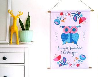 Print Fabric Wall Art / Nursery Owl Banner / Large printed wall hanging / Nursery art / Canvas banner / Scandinavian art home decor