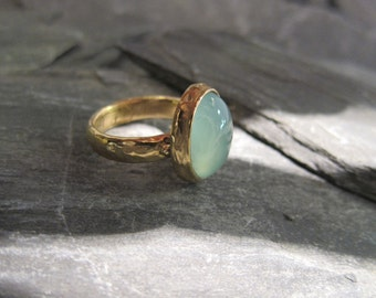 Aqua Chalcedony ring gold plated, handmade in France.