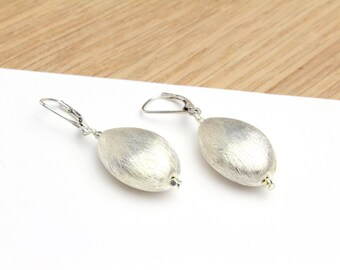 Sterling Silver 925 Drop Earrings in a Brushed Matte Finish