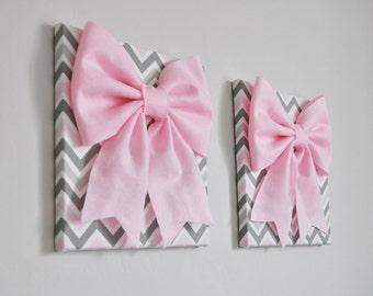 Girl Nursery Wall Art Girl Nursery Art Set of TWO Pink Art Ballet Canvas Ballerina Art Pink Bow on Chevron Nursery Decor Baby Shower Gift