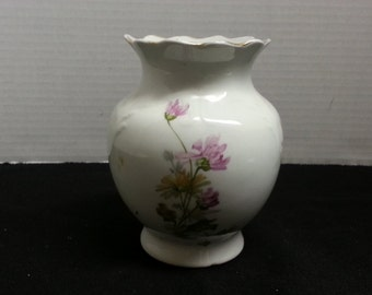 Vintage Pink and Brown Mums and Embossed Bonita Brush Vase By VP Co