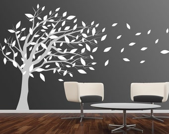 Wall Decal tree wall decal nursery wall decal baby wall decal winter tree wall decal children baby decal-Birds sitting on Trees Decal-DK018