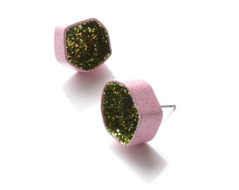 pastel pink powdercoat and grass green glitter geode earrings, geometric sparkle earrings, geode studs, one of a kind completely handmade