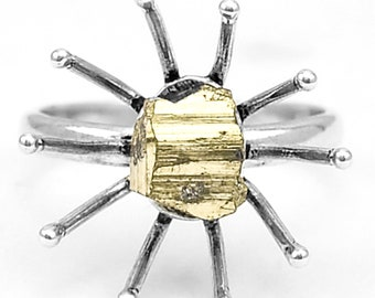 The Peru pyrite and sterling silver 925 ring size 58. Peruvian golden pyrite 925 silver ring size 7.5