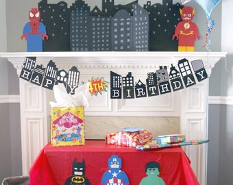 Superhero Cityscape PRINTABLE Banner with Number Burst