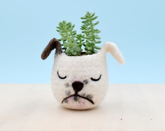 Dog lover gift, bulldog, Pet gift, gift for her, succulent planter, Cactus planter gifts, dog planter, dog vase