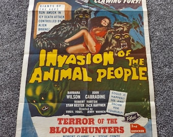 Invasion Of The Animal People Movie Poster Original One Sheet John Carradine