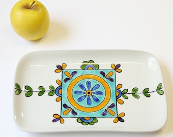 Floral white rectangel tray - serving tray - gift idea - home decor - serveware