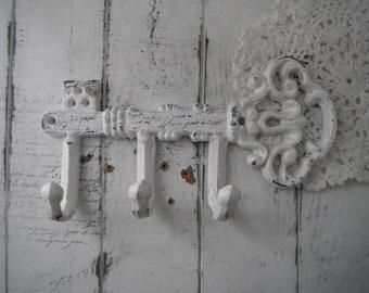 crochet pour les clés écharpe foulard clés blanc vieilli crochet ceinture crochet laisse porte décor shabby country français mur crochet torchon crochet or clé