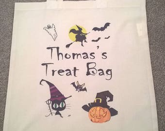 Personalised Halloween Treat Bag - customise yours, customize, Personalized, trick or treat, ghost, pumpkin, witch, boys, girls