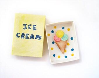 Ice cream cone, matchbox art, miniature paper diorama, ice cream decor, matchbox card, paper art