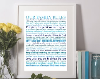 Our Family Rules RHYMING Wall Art Personalised Print unusual Housewarming New Home Gift Print Poster Sign Quote Typography Art