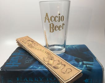Harry Potter Pint Glass - Accio Beer Pint Glass - Harry Potter Inspired Glass - Book Club Gift - Harry Potter Fan Gift - 21st Birthday Glass