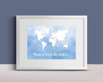 Personalized Map Art - World Map - World Travel Map - Country Map Art - Heart Map - Anniversary Gift - Wedding Gift