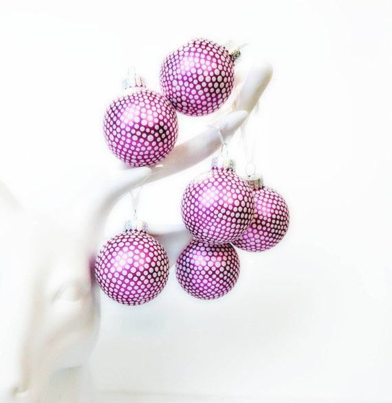 Tiny little ornaments white dots on pink small glass ornaments