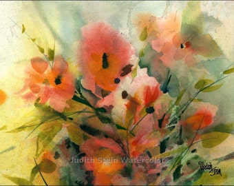 """Poppy Flowers in Patio Garden Meadow, Orange, Red, Black, Green Watercolor Painting Picture Print, Wall Art, Home Decor, """"Field of Poppies"""""""