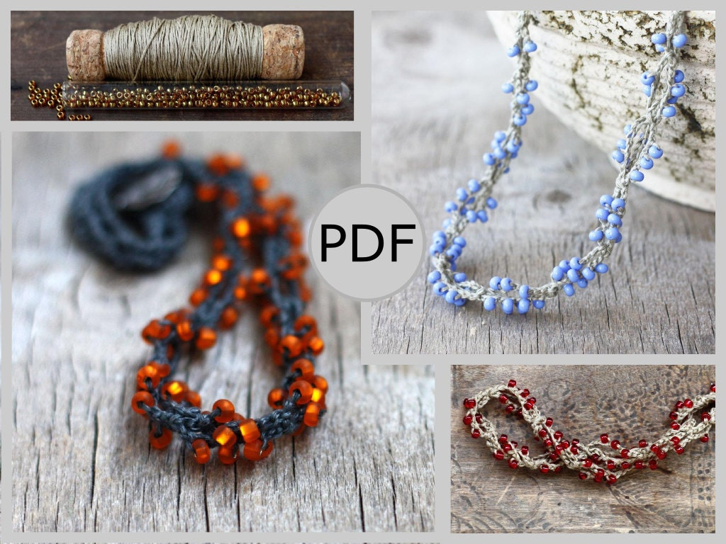 Diy twisted linen beaded necklace crochet pattern pdf zoom bankloansurffo Image collections