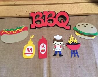 BBQ Die Cut Set of 7, BBQ Theme Party, BBQ Scrapbooking