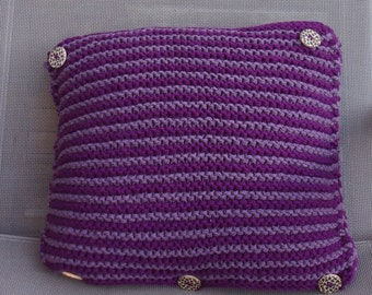 """Purple"" wool pillow and cover small buttons ""Léopard"""