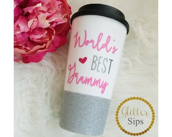 World's Best Grammy Glitter To Go Cup // Glitter Cup // Glitter Coffee Cup // Travel Cup // Plastic To Go Cup // Coffee Cup // Grandma