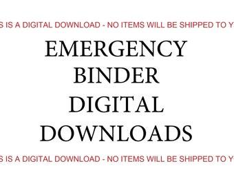 Emergency Binder Contents, Digital Download