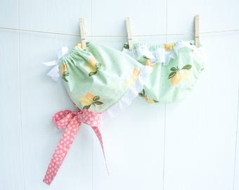 Ruffled Bonnet Set-Lovely Lemons Baby Bonnet-Lemons & Daisies-Mint Green and Bright Pink-White Eyelet Ruffle-Diaper Cover-Baby Bloomers