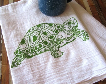 Tea Towel - Screen Printed Flour Sack Towel - Eco Friendly Cotton Towel - Turtle - Handmade - Classic Flour Sack Towel - Kitchen Towel