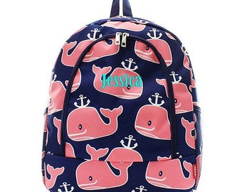 Monogrammed Backpack Personalized Happy Whale Backpack Personalized Backpack Kids Backpack Girls Backpack Boys Backpack