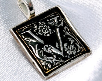 CLEARANCE - V is for Virtuous - Donatienne - recycled silver initial pendant