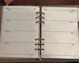 A5 SNOW SILVER WO2P Shimmer Planner Inserts Refill, Organiser, Calendar, Printed, Horizontal EC,Dated/Undated Louis Vuitton Agenda 2017 2018