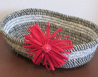 Hand Crafted Rope Bowl Basket 100% cotton, a pretty way to corral items