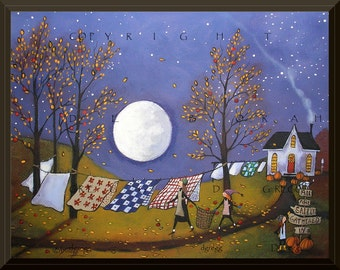 Quilts And Flannels For Chilly Nights a Full Moon Autumn Laundry Line PRINT by Deborah Gregg