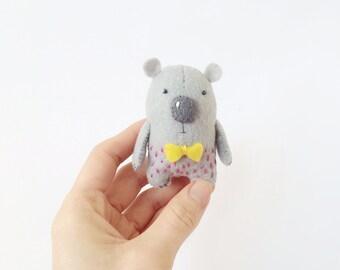 Tiny Grey Bear, Felt Bear, Felted Miniature Animals, Felt Animals